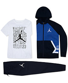 Jordan Little Boys Diamond Fleece Zip-Up Hoodie, Graphic T-Shirt & Jogger Pants