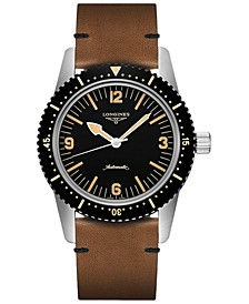 Men's Swiss Automatic Skin Diver Brown Leather Strap Watch 42mm