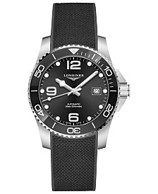 Longines Men's Swiss Automatic HydroConquest Black Rubber Strap Watch 41mm