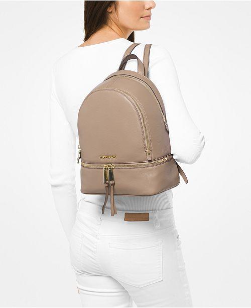 4a0208042ba8 Michael Kors Rhea Zip Small Pebble Leather Backpack   Reviews ...