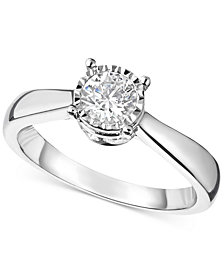 TruMiracle® Diamond Solitaire Engagement Ring (1 ct. t.w.) in 14k White Gold