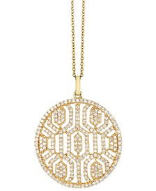 "EFFY® Diamond Openwork 18"" Pendant Necklace (1 ct. t.w.) in 14k Gold"