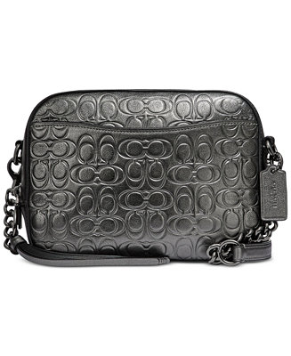 Metallic Signature Embossed Leather Camera Bag by General