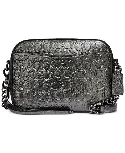 4f08f2f9cb51 COACH Metallic Signature Embossed Leather Camera Bag   Reviews