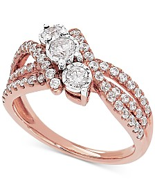 Diamond Three Stone Swirl Engagement Ring (1 ct. t.w.) in 14k Rose Gold