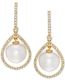 Honora White Cultured Freshwater Pearl (8-1/2 mm) & Diamond (1/3 ct. t.w.) Orbital Drop Earrings in 14k Gold