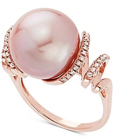 Cultured Pink Ming Pearl (13mm) & Diamond (1/8 ct. t.w.) Ring in 14k Rose Gold