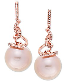 Honora Pink Cultured Ming Pearl (12mm) & Diamond (1/8 ct. t.w.) Drop Earrings in 14k Rose Gold