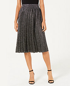 Lucy Paris Nicole Pleated Metallic Skirt