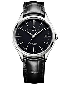 Men's Swiss Automatic Clifton Baumatic Black Alligator Leather Strap Watch 40mm