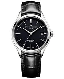 Men's Swiss Automatic Clifton Baumatic Black Alligator Leather Strap Watch 40mm