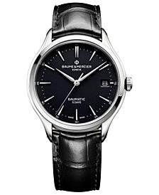 Baume & Mercier Men's Swiss Automatic Clifton Baumatic Black Alligator Leather Strap Watch 40mm