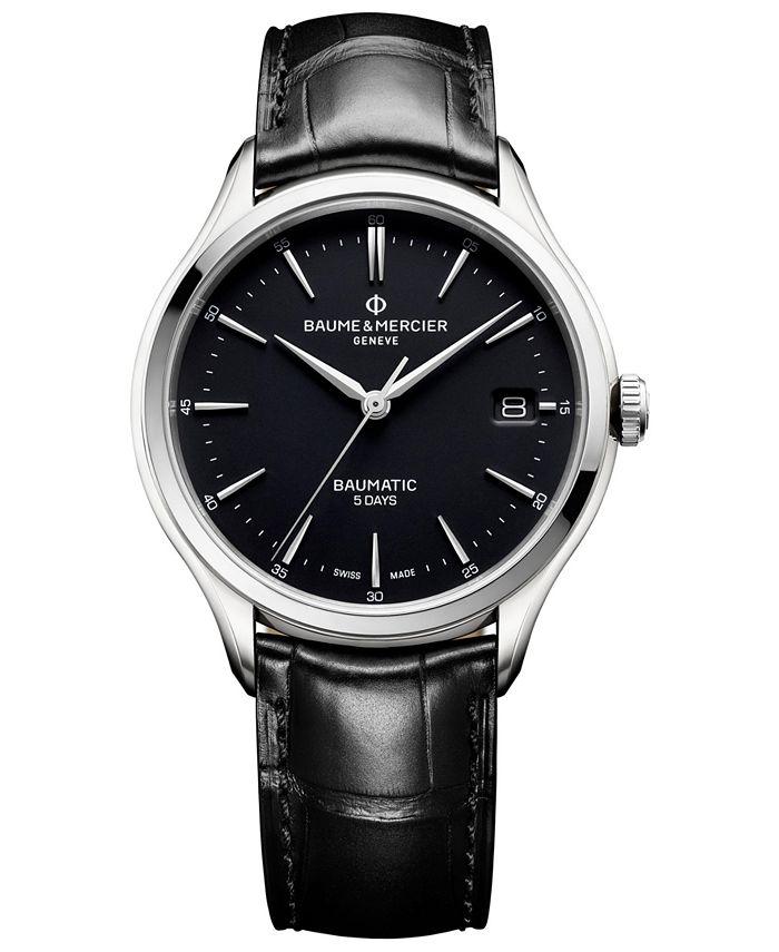 Baume & Mercier - Men's Swiss Automatic Clifton Baumatic Black Alligator Leather Strap Watch 40mm