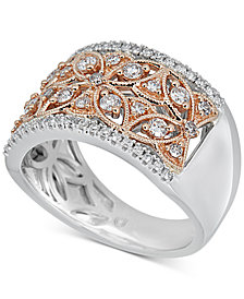 Diamond Two-Tone Openwork Floral Statement Ring (5/8 ct. t.w.) in 14k Gold & White Gold