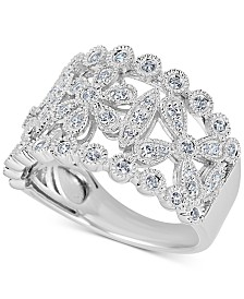 Diamond Openwork Floral Statement Ring (1/2 ct. t.w.) in 14k White Gold
