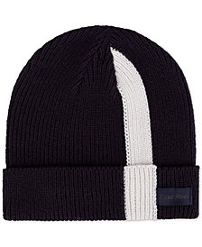 Calvin Klein Men's Stripe Ribbed Cuffed Beanie, Created for Macy's