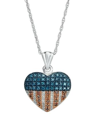 Red, White and Blue Diamond Flag Heart Pendant Necklace in Sterling Silver (1/3 ct. t.w.)