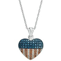 Macy's Red, White and Blue Diamond Flag Heart Pendant Necklace in Sterling Silver (1/3 ct. t.w.)