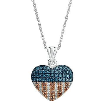 Macy's Red, White and Blue Diamond Flag Heart Pendant Necklace