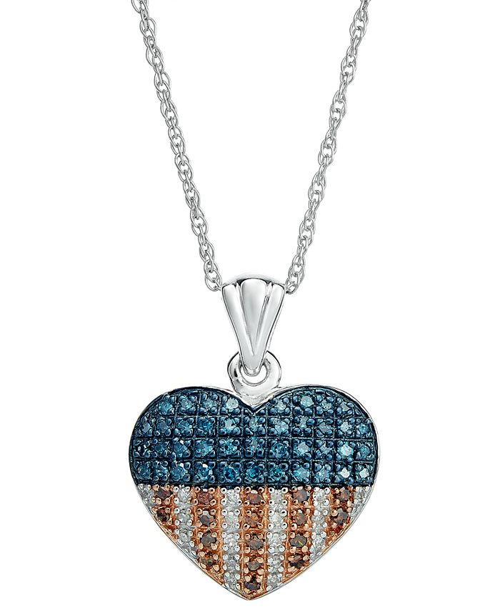 Macy's - Red, White and Blue Diamond Flag Heart Pendant Necklace in Sterling Silver (1/3 ct. t.w.)