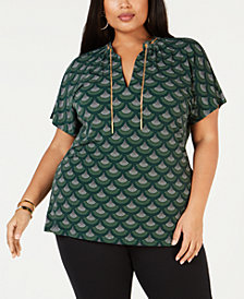 MICHAEL Michael Kors Plus Size Printed Split-Neck Top
