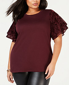 MICHAEL Michael Kors Plus Size Lace-Sleeve Top