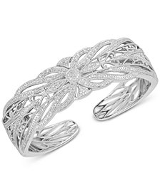 Diamond Openwork Bangle Bracelet (1/4 ct. t.w.) in Sterling Silver