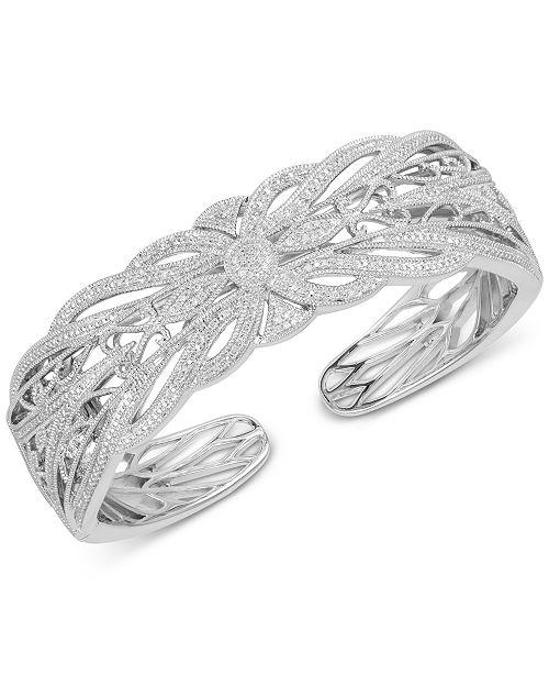 Macy's Diamond Openwork Bangle Bracelet (1/4 ct. t.w.) in Sterling Silver