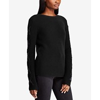 Lauren Ralph Lauren Womens Lace-Up-Sleeve Sweater Deals