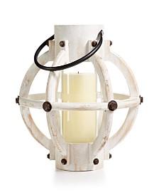 Home Essentials Coastal White-Wash Wood Lantern