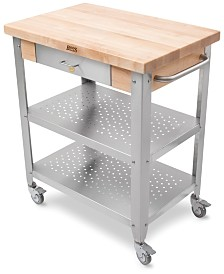 John Boos Cucina Elegante Kitchen Cart with Hard Rock Maple Top