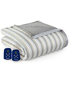 Reversible Micro Flannel® to Sherpa Queen Electric Blanket