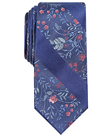 Bar III Men's Abington Skinny Floral Stripe Tie, Created for Macy's