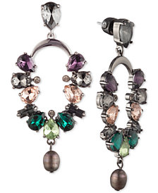 Carolee Hematite-Tone Crystal & Freshwater Pearl (7x9mm) Cascade Drop Earrings