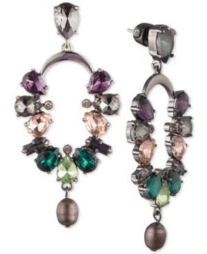CAROLEE Hematite-Tone Crystal & Freshwater Pearl (7X9Mm) Cascade Drop Earrings in Multi