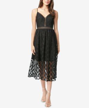 BETSEY JOHNSON Star-Lace Midi Dress in Black/Silver