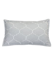 """Ava Whipstitch Embroidered Pillow, 20"""" x 12"""""""