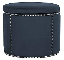 Sherri Cocktail Ottoman - Brass Nail Heads