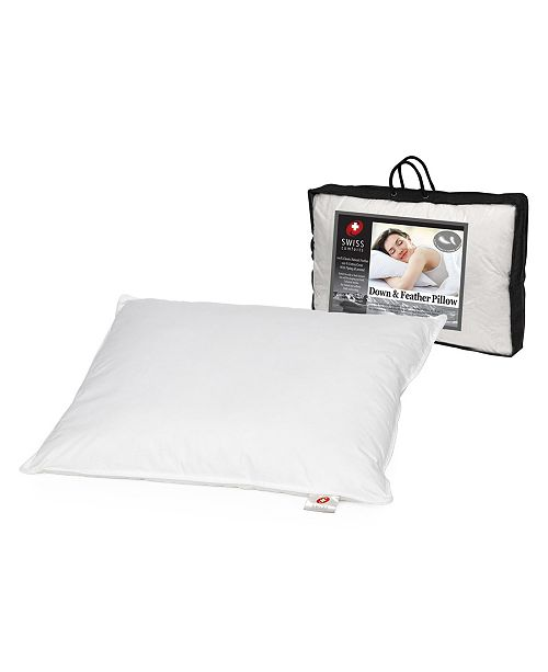 """Swiss Comforts Down & Feather Cotton Pillow, 20""""X26"""""""