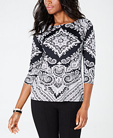 Charter Club Printed 3/4-Sleeve Top, Created for Macy's