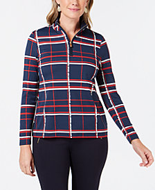 Charter Club Plaid Pullover-Zipper Top, Created for Macy's