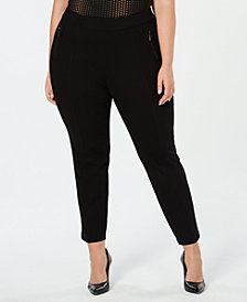Anne Klein Plus Size Zip-Pockets Pull-On Skinny Pants