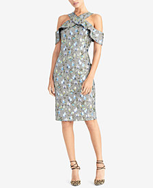 RACHEL Rachel Roy Metallic Floral Plaid Ruffled Dress