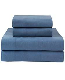 Winter Nights Cotton Solid Flannel Full Sheet Set