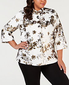 JM Collection Plus Size Metallic Floral-Print Jacket, Created for Macy's