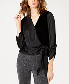 I.N.C. Petite Velvet Wrap Top, Created for Macy's