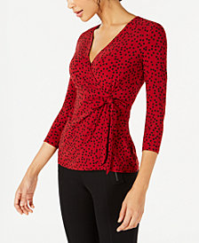 Anne Klein Camille Dot-Print Faux-Wrap Top
