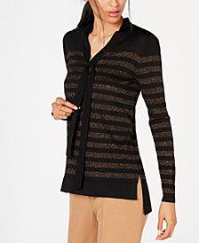 Anne Klein Metallic-Striped Tie-Neck Sweater