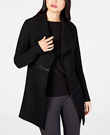 Anne Klein Zipper-Detail Wing-Collar Cardigan Jacket