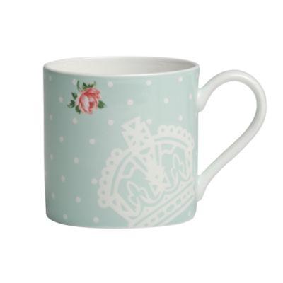 Polka Blue Rose Modern Mug